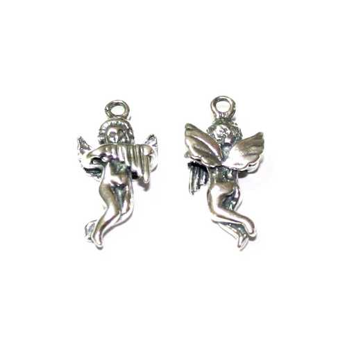Silver charm, angel, 11x23mm, antique; per pc