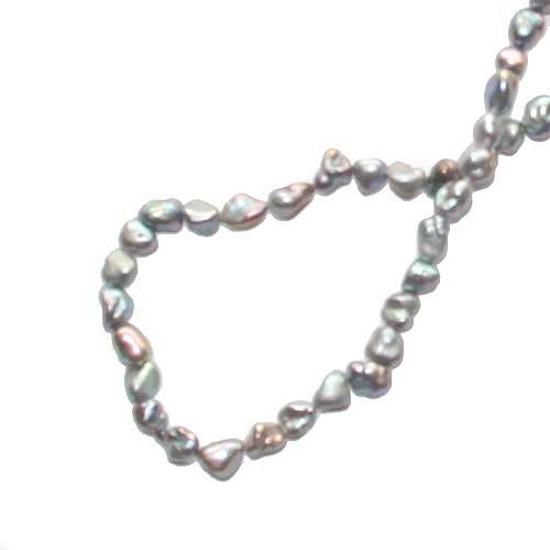 Pearl, baroque, 8mm, silver grey, iris luster; per string