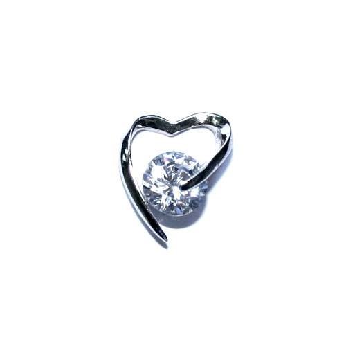Silver pendant, heart, with CZ stone; per pc