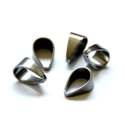 Stainless steel bail, 7x13mm, glanzend; per 25 stuks