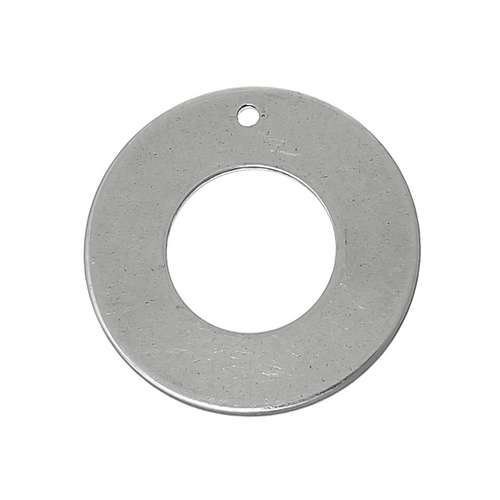 Stainless steel bedel, platte ring 16mm, glanzend; per 10 stuks